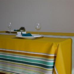 Nappe en tissu enduit au mètre rayé esprit basque