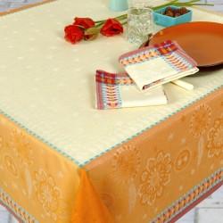Nappe en jacquard fil teint en lin et polyester traitée anti-tache Chiara