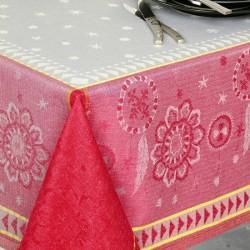 Nappe en jacquard fil teint en lin et polyester traitée anti-tache Umberto