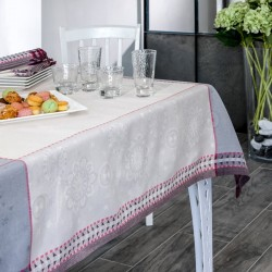 Nappe en jacquard fil teint en lin et polyester traité anti tache Renato