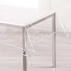Toile cirée ronde transparente finie par un biais taupe