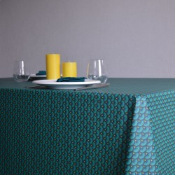 Nappe en toile ou tissu enduit au motif éventail et au coloris canard modernes