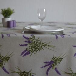 Nappe enduite en toile de savoie enduite au motif provençal avec de la lavande