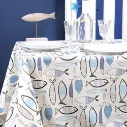 Nappe ourlée en toile ou tissu enduit thème marin