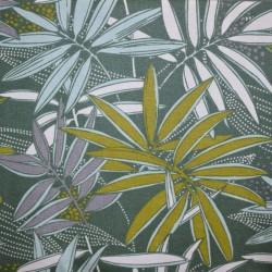 Nappe en tissu enduit ou toile enduite à l'esprit jungle très actuel sur fond kaki