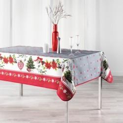 Nappe de Noël anti-taches en polyester imprimée avec des sapins et des poinsettias