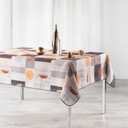 Nappe imprimée en polyester anti-taches avec des rosaces et des plumes sur votre table