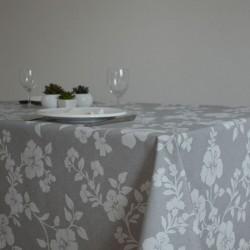 Nappe enduite en toile enduite grande largeur 180 cm un motif floral sur fond gris
