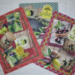 Lot de 3 torchons en sergé coton 100 % de 50 x 70 cm sur un thème provençal avec des olives