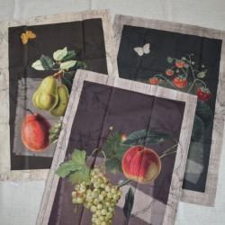 Lot de 3 torchons en sergé coton 100 % en 50 x 70 cm avec des fruits en impression digitale