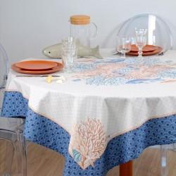 Nappe ronde Ø 175 en toile enduite avec un motif marin placé en impression digitale