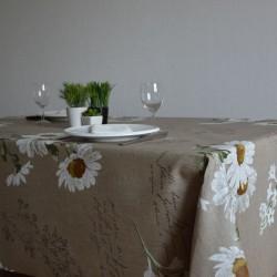 Lin enduit au mètre en 140 cm de large avec des marguerites blanches comme peintes