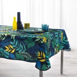 Nappe imprimée en polyester traité anti-taches avec es feuilles colorées sur fond marine