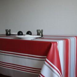 Nappe en sergé enduit à l'esprit basque avec un bayadère dans des tons rouge, taupe et blanc