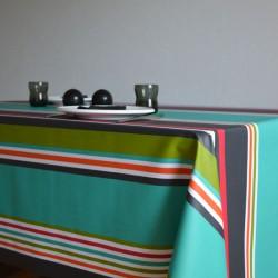Nappe en sergé enduit à l'esprit basque avec un bayadère aux rayures multicolores