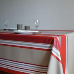 Nappe en sergé enduit à l'esprit basque avec un bayadère aux rayures rouges et beiges