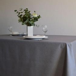 Nappe en tissu ou toile enduite en 160 cm, un uni gris