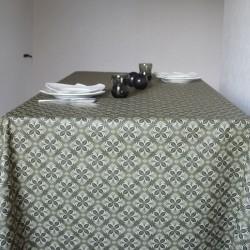 Toile ou tissu enduit pour nappage, un esprit moderne sur votre table avec un motif tendance sur fond kaki