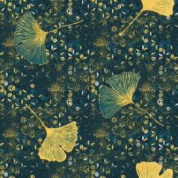 Toile ou tissu enduit pour nappage, une envolée de feuilles sur votre table sur un fond bleu-vert