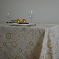 Nappe en toile ou tissu enduit avec un motif doré très chic pour les fêtes de fin d'année