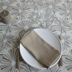 Nappe en jacquard enduit avec un motif artifice gris