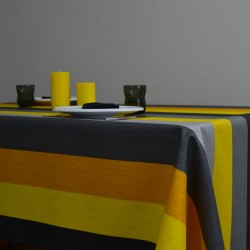 Lin imprimé en 140 cm de large avec des rayures grises et moutarde