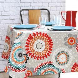 Nappe ourlée en toile ou tissu enduit avec un motif de mandalas  très actuel