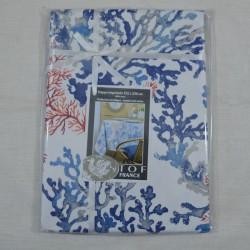 Nappe ourlée en toile ou tissu enduit avec un motif de fond marin avec des coraux