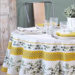 Nappe Ø 175 en toile enduite ou tissu enduit avec un motif provençal, existe en 3 coloris