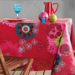 Nappe en toile ou tissu enduit avec ourlet avec un motif de mandalas sur fond rouge