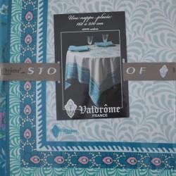 """Nappe en 100 % coton, grand teint, un véritable """"Valdrôme"""" dans des tons de bleus"""