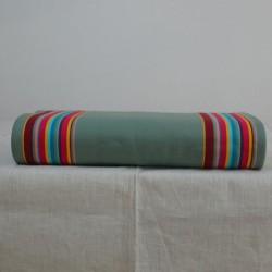Toile à transat en 43 cm de large de couleur cactus au centre et aux bordures avec des rayures colorées