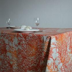 Toile de savoie enduite en 175 cm avec un décor de coraux très originaux