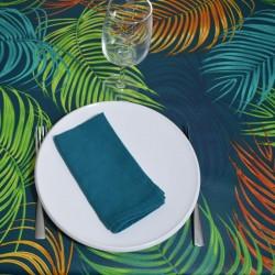 """Nappe en 100 % coton enduite avec un motif """"JUNGLE"""" très coloré"""