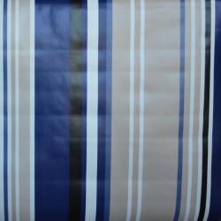 Toile cirée standard en 140, avec des rayures bleues et beige pour un esprit bayadère