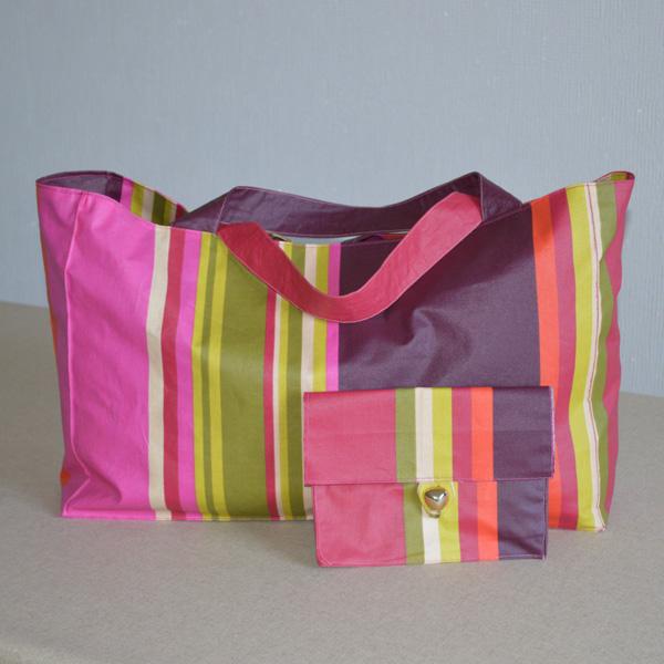 Cabas et pochette réalisés en tissu enduit, toile enduite ou coton enduit Rafaël