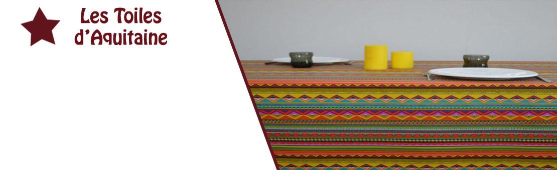 Nappe en coton enduit ou toile enduite Pietra, un esprit Inca avec un mélange de formes géométriques très colorées