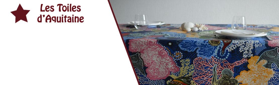 Nappe en coton enduit ou toile enduite sur un thème de fond sous-marin Pélagie